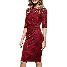 Buy Yumi Lace Front Gathered Dress, Red Online at johnlewis.com