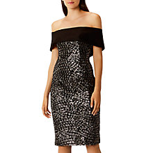 Buy Coast Serena Sequin Bardot Dress, Black/Metallic Online at johnlewis.com