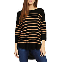 Buy Phase Eight Breton Stripe Megg Jumper, Black/Camel Online at johnlewis.com