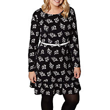 Buy Yumi Plus Size Fan Print Skater Dress, Black/White Online at johnlewis.com