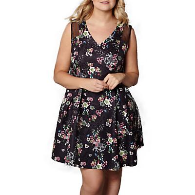 Yumi Curves Botanical Mesh Skater Dress, Black/Multi
