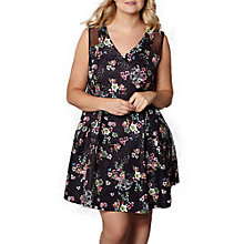 Buy Yumi Curves Botanical Mesh Skater Dress, Black/Multi Online at johnlewis.com