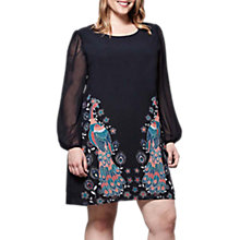 Buy Yumi Curves Peacock Print Tunic Dress, Navy Online at johnlewis.com