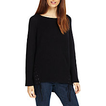Buy Phase Eight Loraina Lace Up Knit Jumper, Navy Online at johnlewis.com