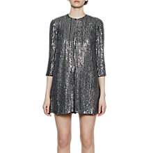 Buy French Connection Desiree Disco Playsuit, Black/Gunmetal Online at johnlewis.com