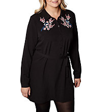 Buy Yumi Curves Blossom Embroidered Tunic Dress, Black Online at johnlewis.com