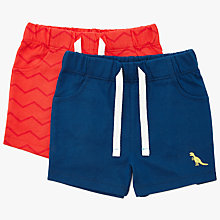 Buy John Lewis Baby Badge Shorts, Pack of 2, Red/Blue Online at johnlewis.com