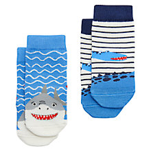 Buy Baby Joule Neat Feet Shark Socks, Pack of 2, Blue/Red Online at johnlewis.com