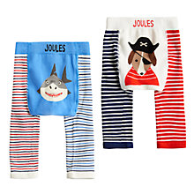 Buy Baby Joules Lively Shark and Pirate Dog Footless Leggings, Pack of 2, Blue/Red Online at johnlewis.com