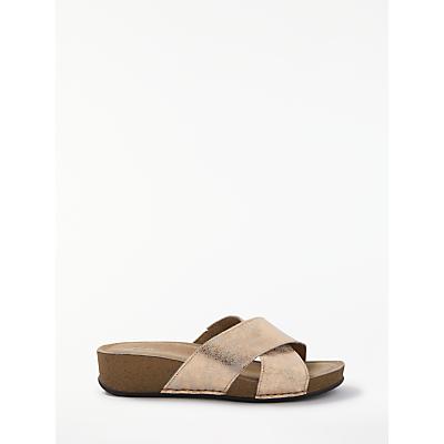 John Lewis Designed for Comfort Kenzie Cross Strap Mule Sandals, Rose Gold Leather