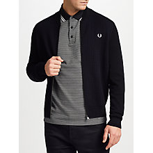 Buy Fred Perry Knitted Bomber Cardigan, Black Online at johnlewis.com