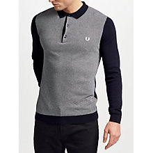 Buy Fred Perry Long Sleeve Knitted Polo Shirt, Navy Online at johnlewis.com