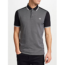 Buy Fred Perry Jacquard Panel Polo Shirt, Black Online at johnlewis.com