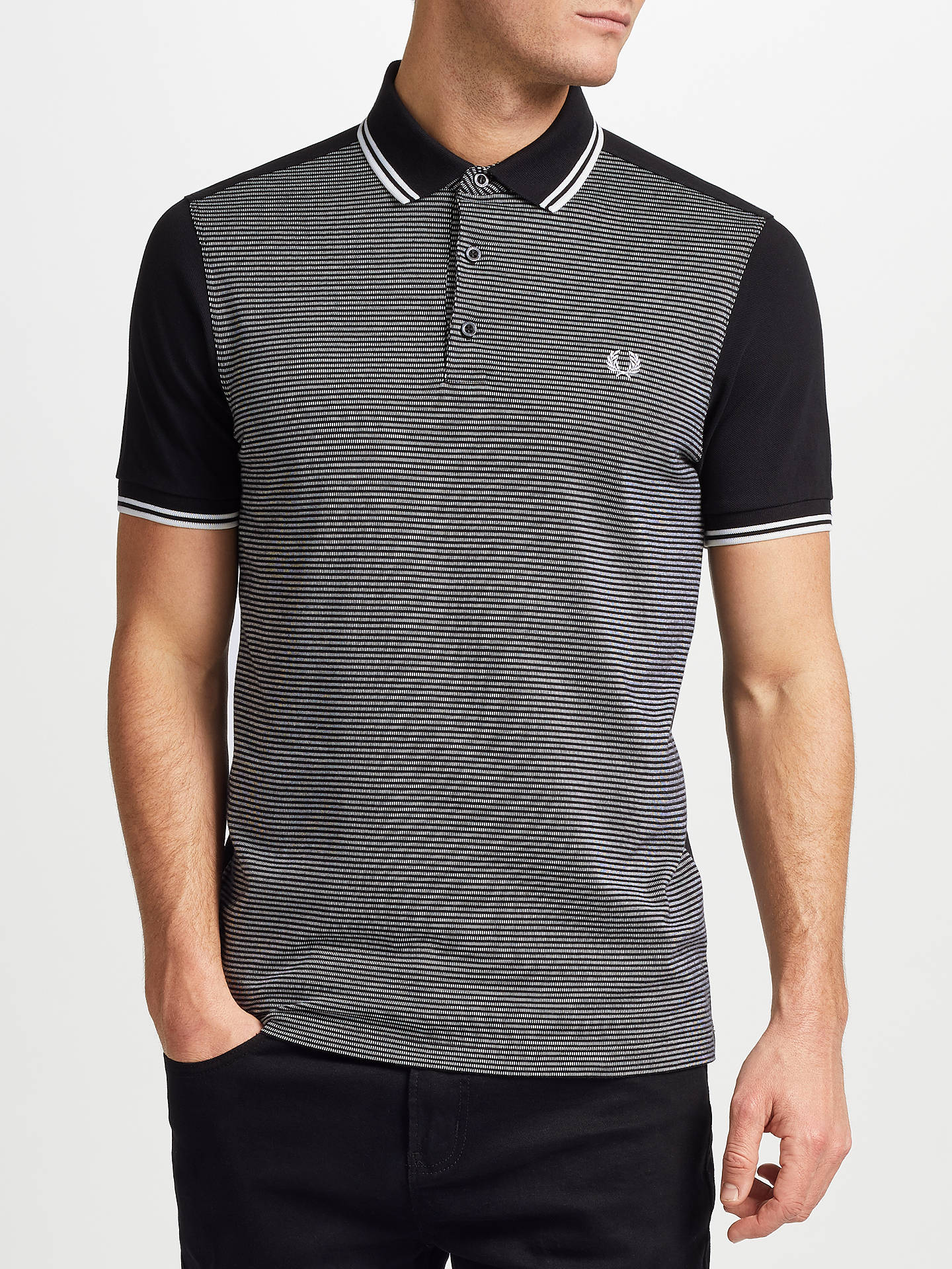 BuyFred Perry Jacquard Panel Polo Shirt, Black, S Online at johnlewis.com