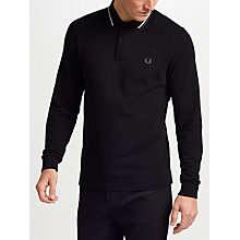 Buy Fred Perry Long Sleeve Twin Tipped Polo Shirt, Black Online at johnlewis.com