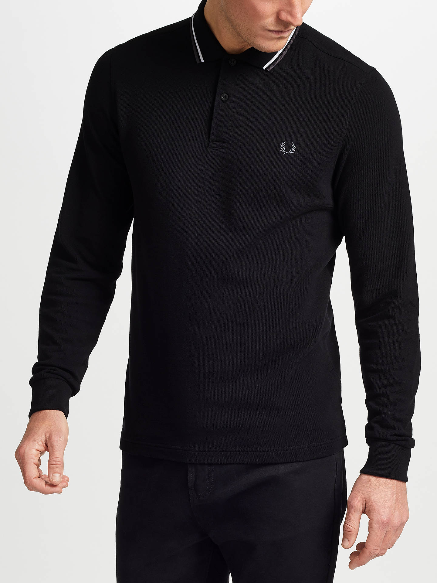 e7810793 Buy Fred Perry Long Sleeve Twin Tipped Polo Shirt, Black, S Online at  johnlewis ...