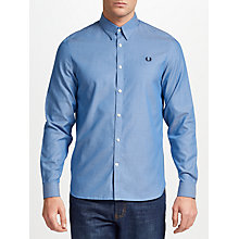 Buy Fred Perry Long Sleeve Tape Detail Shirt, Mid Blue Online at johnlewis.com