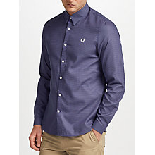 Buy Fred Perry Micro Square Long Sleeve Shirt, Black Online at johnlewis.com