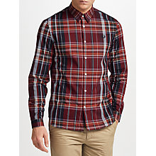 Buy Fred Perry Enlarged Tartan Long Sleeve Shirt, Red Online at johnlewis.com