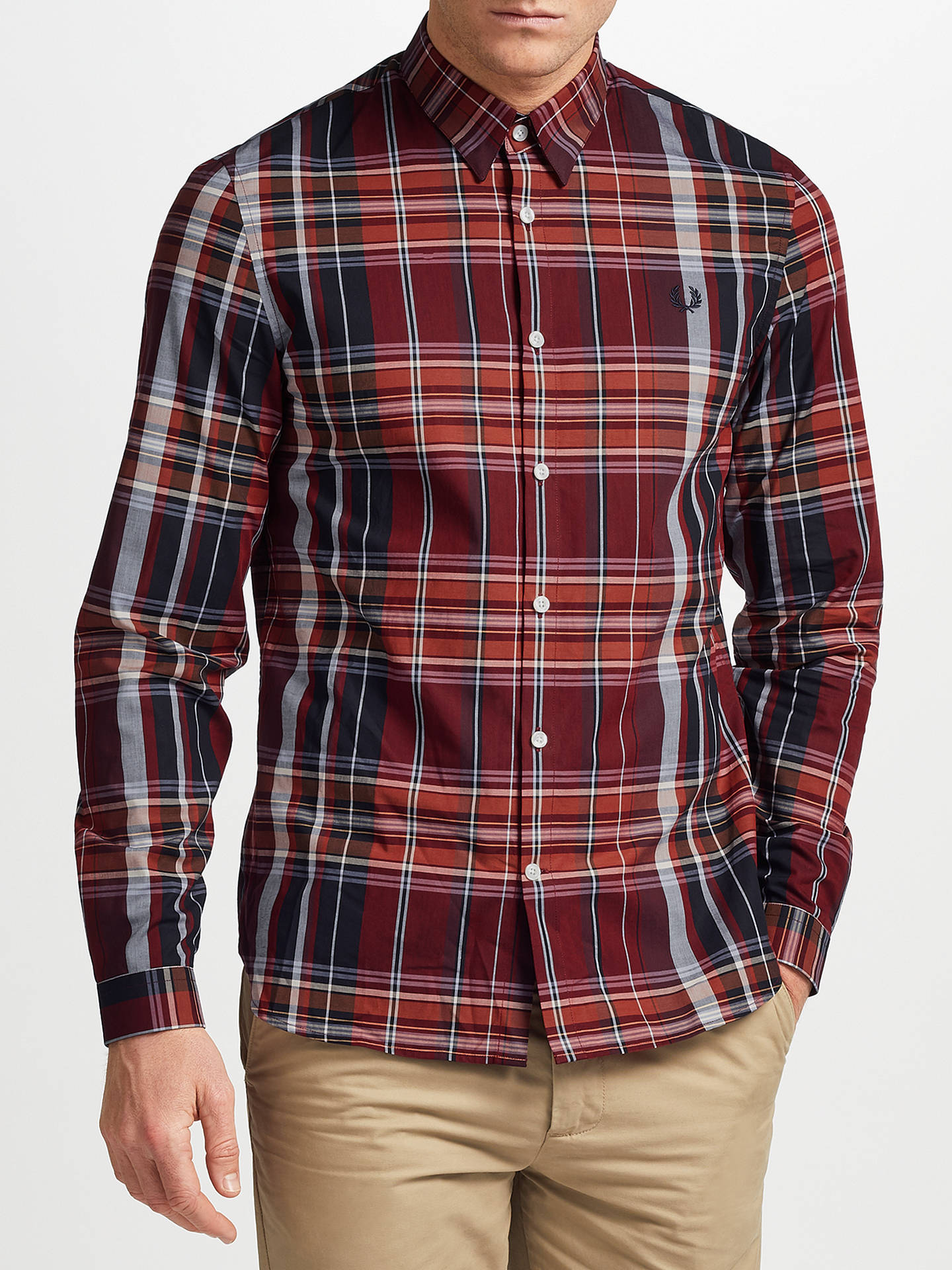 4ed3ac8a Buy Fred Perry Enlarged Tartan Long Sleeve Shirt, Red, S Online at  johnlewis.