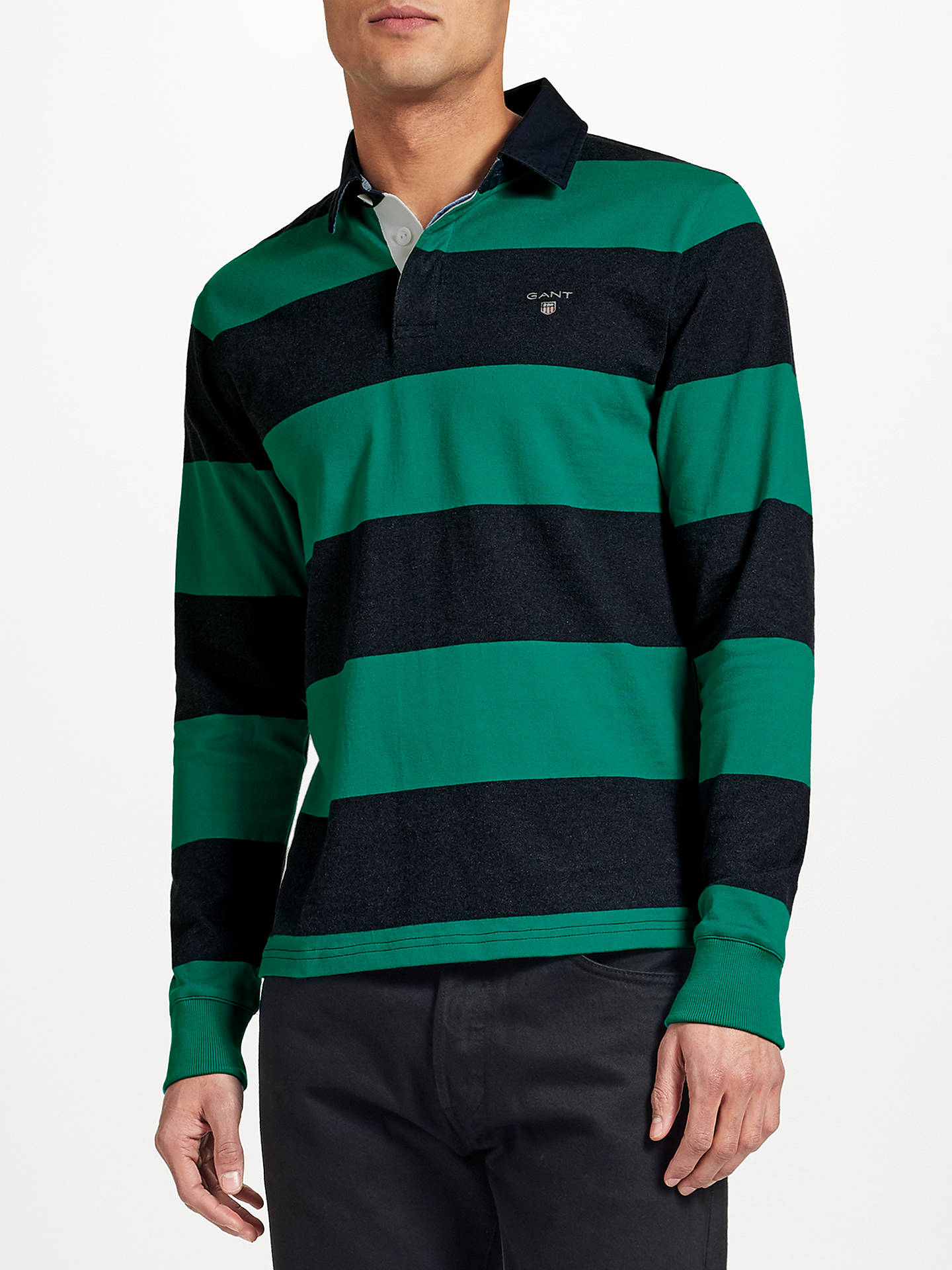 0b69336aa8 Buy GANT Rugger Bar Stripe Heavy Jersey Rugby Shirt, Emerald Green, M  Online at ...