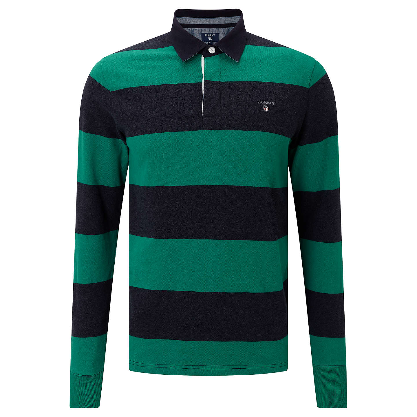 BuyGANT Rugger Bar Stripe Heavy Jersey Rugby Shirt, Emerald Green, M Online at johnlewis.com