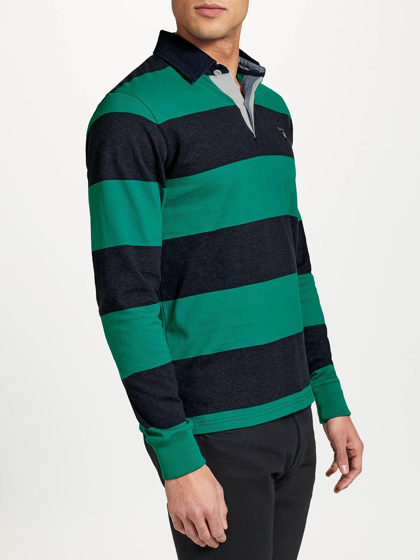 763fa10066 ... Buy GANT Rugger Bar Stripe Heavy Jersey Rugby Shirt, Emerald Green, M  Online at
