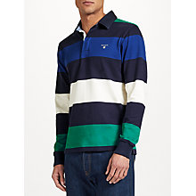 Buy GANT Rugger Bar Stripe Heavy Jersey Top, Navy/Multi Online at johnlewis.com