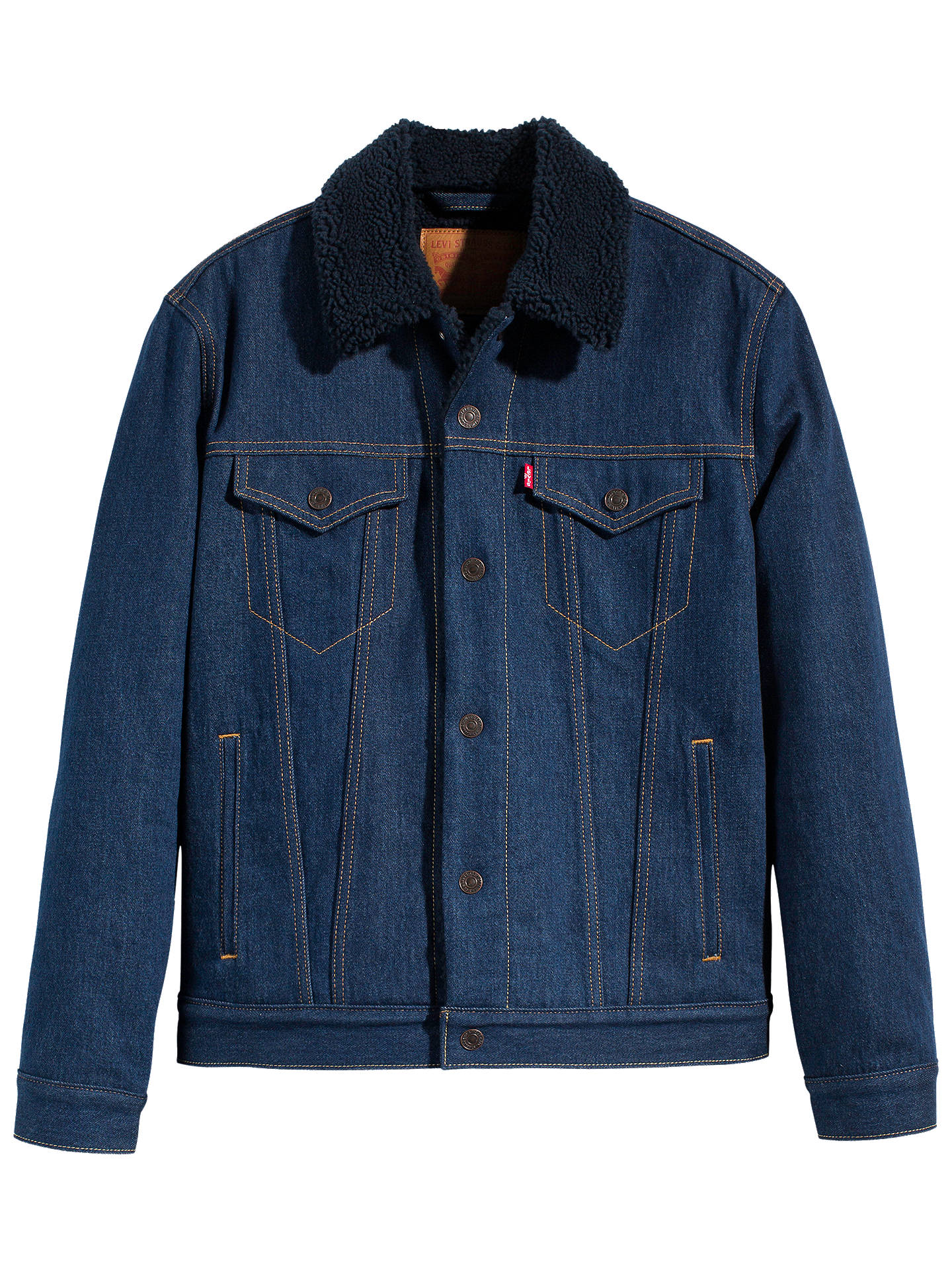 09d778b0bcc Buy Levi's Type 3 Sherpa Trucker Jacket, Indigo Sheep, S Online at  johnlewis.