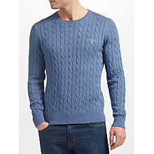 Buy GANT Cotton Cable Crew Neck Online at johnlewis.com