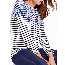 Buy Joules Harbour Long Sleeve Printed Jersey Top, Cream Blue Floral Border Online at johnlewis.com