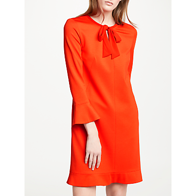 Marc Cain Bow Neck Bell Sleeve Shift Dress, Flame