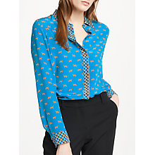 Buy Marc Cain Silk Blend Cheetah Printed Blouse, Azzurro Online at johnlewis.com