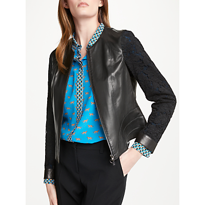 Marc Cain Leather Lace Sleeve Jacket, Black