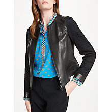 Buy Marc Cain Leather Lace Sleeve Jacket, Black Online at johnlewis.com