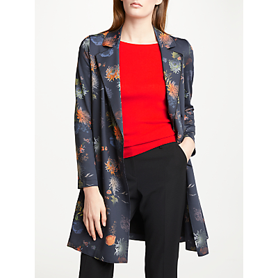 Marc Cain Floral 3/4 Length Coat, Space Blue
