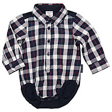 Buy Polarn O. Pyret Baby Checked Shirt Bodysuit, Blue Online at johnlewis.com