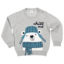 Buy Polarn O. Pyret Baby Polar Bear Jumper, Grey Online at johnlewis.com