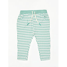 Buy John Lewis Baby Organic Cotton Jacquard Trousers, Green Online at johnlewis.com