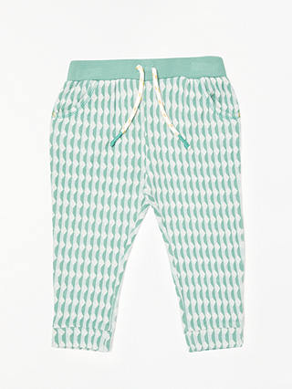 Buy John Lewis Baby Organic Cotton Jacquard Trousers, Green, 0-3 months Online at johnlewis.com