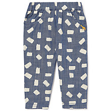 Buy John Lewis Baby Organic Cotton Geo Chambray Trousers, Blue Online at johnlewis.com