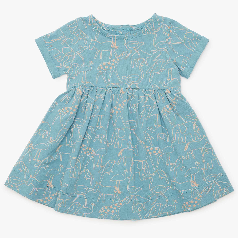 John Lewis Baby Organic Cotton Animal Dress, Blue at John Lewis
