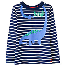Buy Little Joule Boys' Peeker Dinosaur Long Sleeved Top, French Navy Online at johnlewis.com