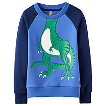 Buy Little Joule Boys' Rogan Novelty Dinosaur Sweatshirt, Blue Online at johnlewis.com