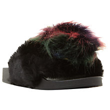 Buy Steve Madden Spiral Faux Fur Slider Sandals, Black Online at johnlewis.com