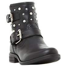 Buy Steve Madden Cameo Embellished Biker Boots, Black Online at johnlewis.com