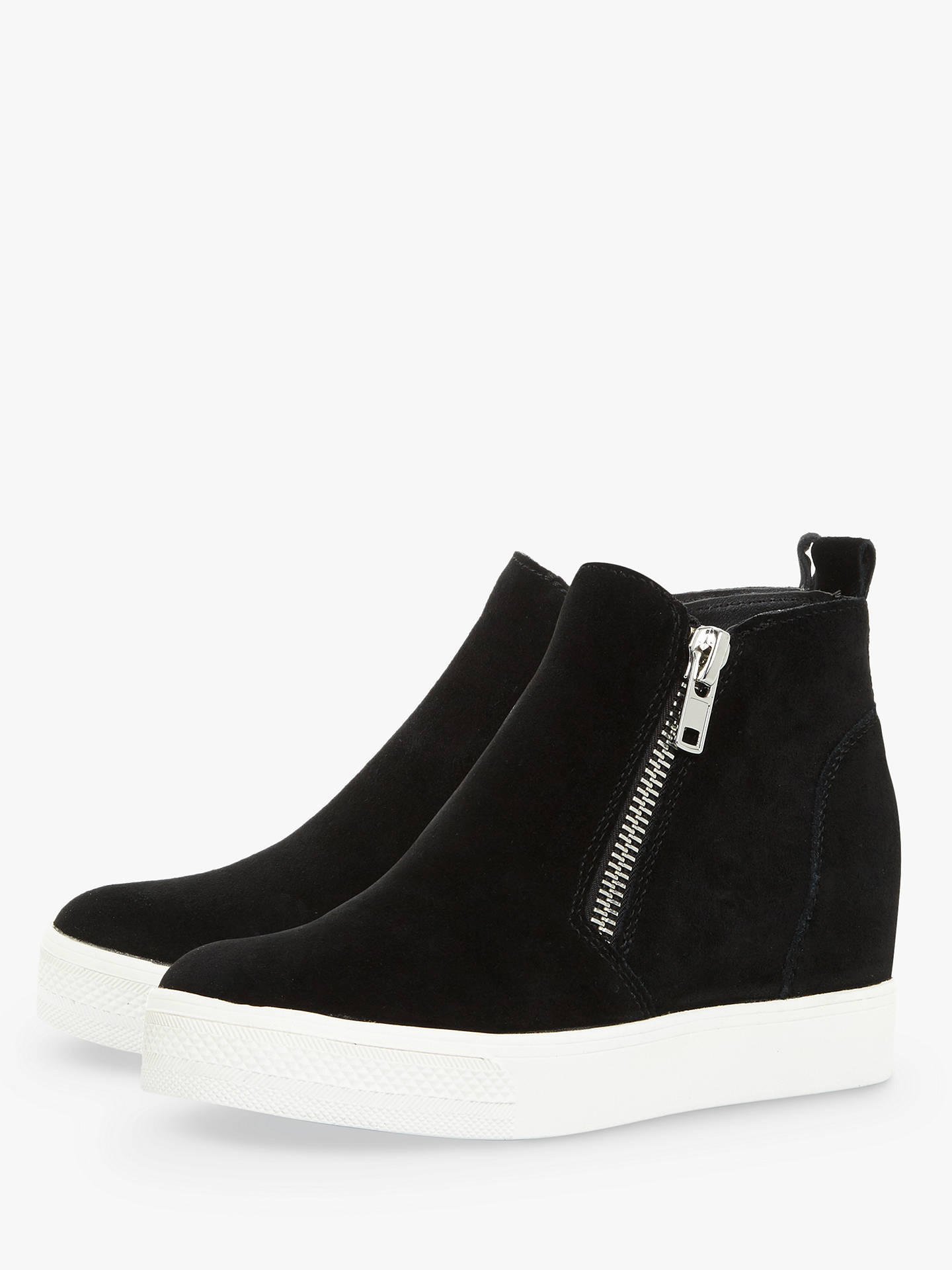 Buy Steve Madden Wedgie SM Zip Wedge Trainers, Black Suede, 3 Online at johnlewis.com