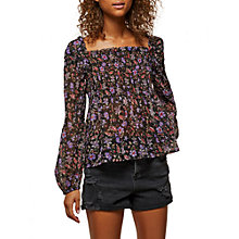 Buy Miss Selfridge Puff Sleeve Smock Top, Multi Online at johnlewis.com