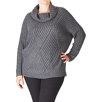 Product photo of Adia cowl neck cable knitted wool blend jumper dark grey
