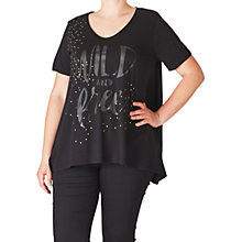 Buy ADIA Front Print Slogan Jersey Top, Black Online at johnlewis.com